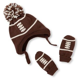 Baby Boys Pom Pom Football Hat And Mittens Set